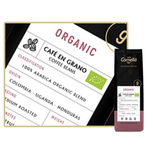 Cafés Cornella Organic szemes kávé 250gramm