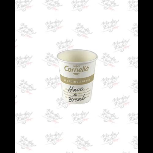 Papír pohár 250 ml Cafés Cornellá 50db/csík (csík ár)