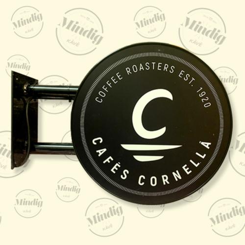 Cafés Cornella fekete világító tábla kültéri