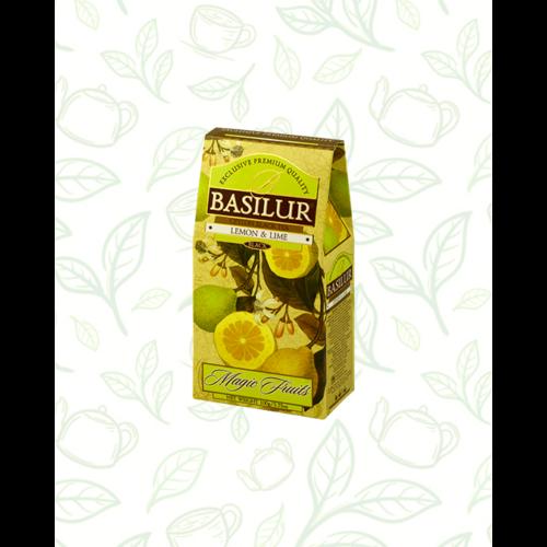Basilur Tea Magic Fruits Lemon&Lime 100g gyümölcsös szálas fekete tea - elegáns papírdobozban