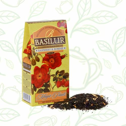 Basilur Tea Magic Fruits Raspberry&Rosehip 100g gyümölcsös szálas fekete tea - elegáns papírdobozban